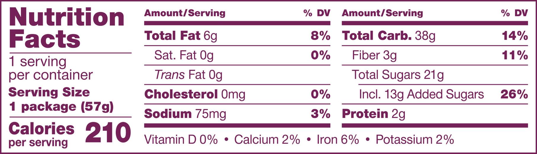 Gluten Free Original Fig Nutrition Panel