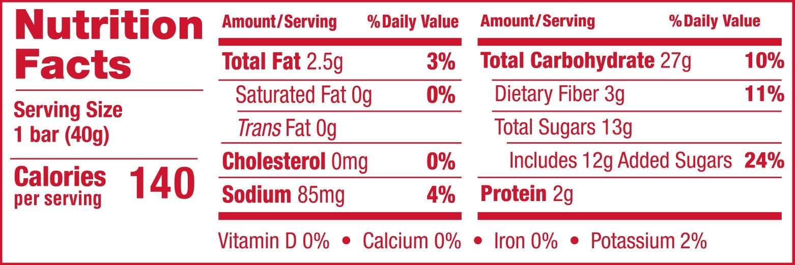 Oatmeal Crumble Strawberry Nutrition Panel