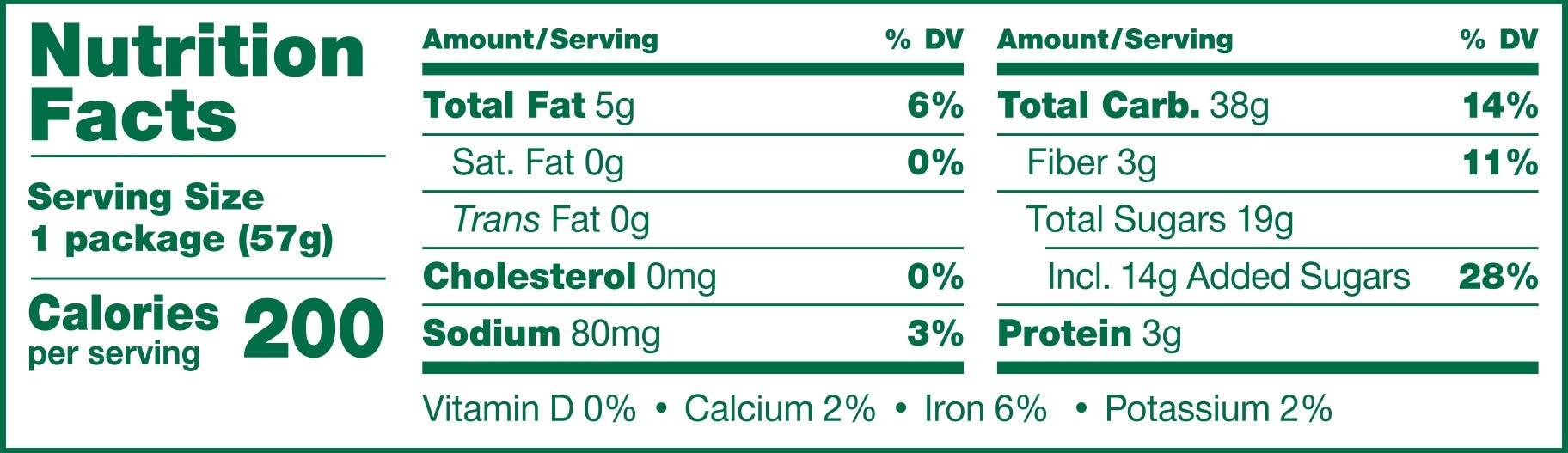 Whole Wheat Apple Cinnamon Nutrition Panel