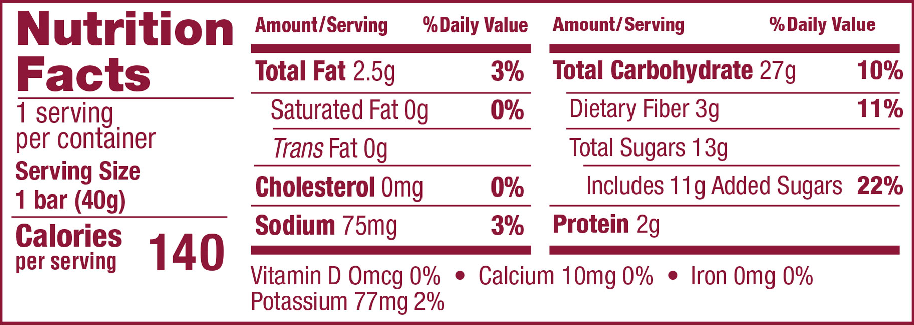 Oatmeal Crumble Cherry Nutrition Panel