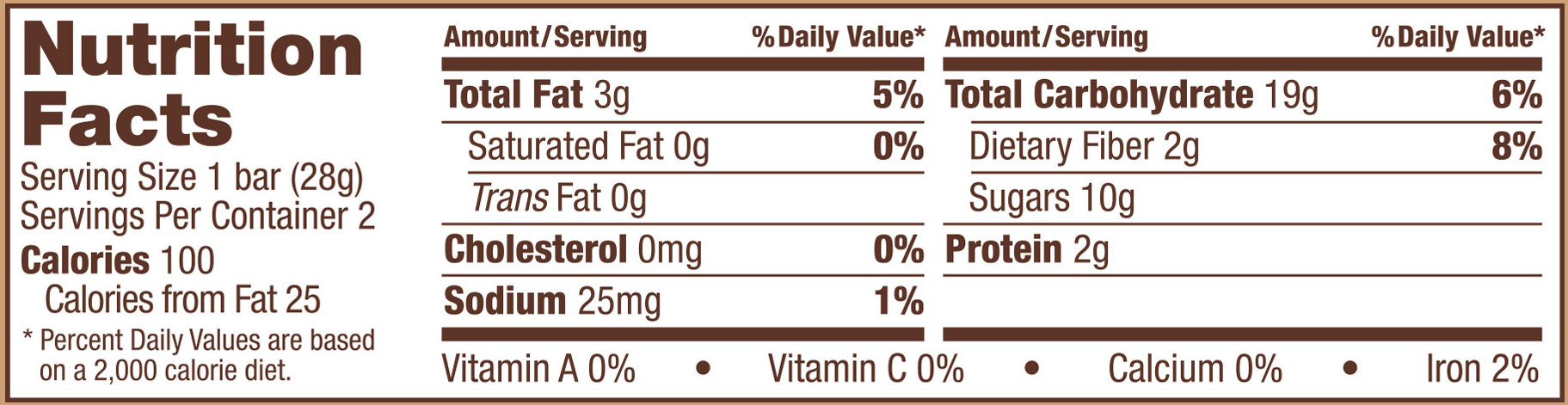 Brownie Bars Double Chocolate Nutrition Panel