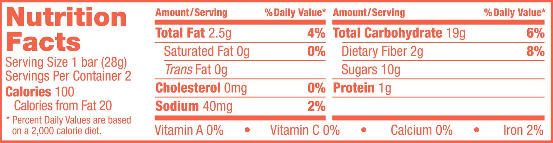 Whole Wheat Peach Apricot Nutrition Panel