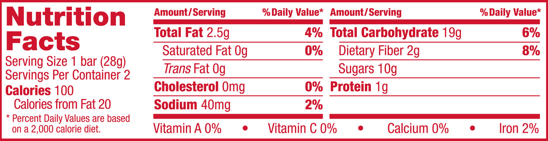 Whole Wheat Strawberry Nutrition Panel